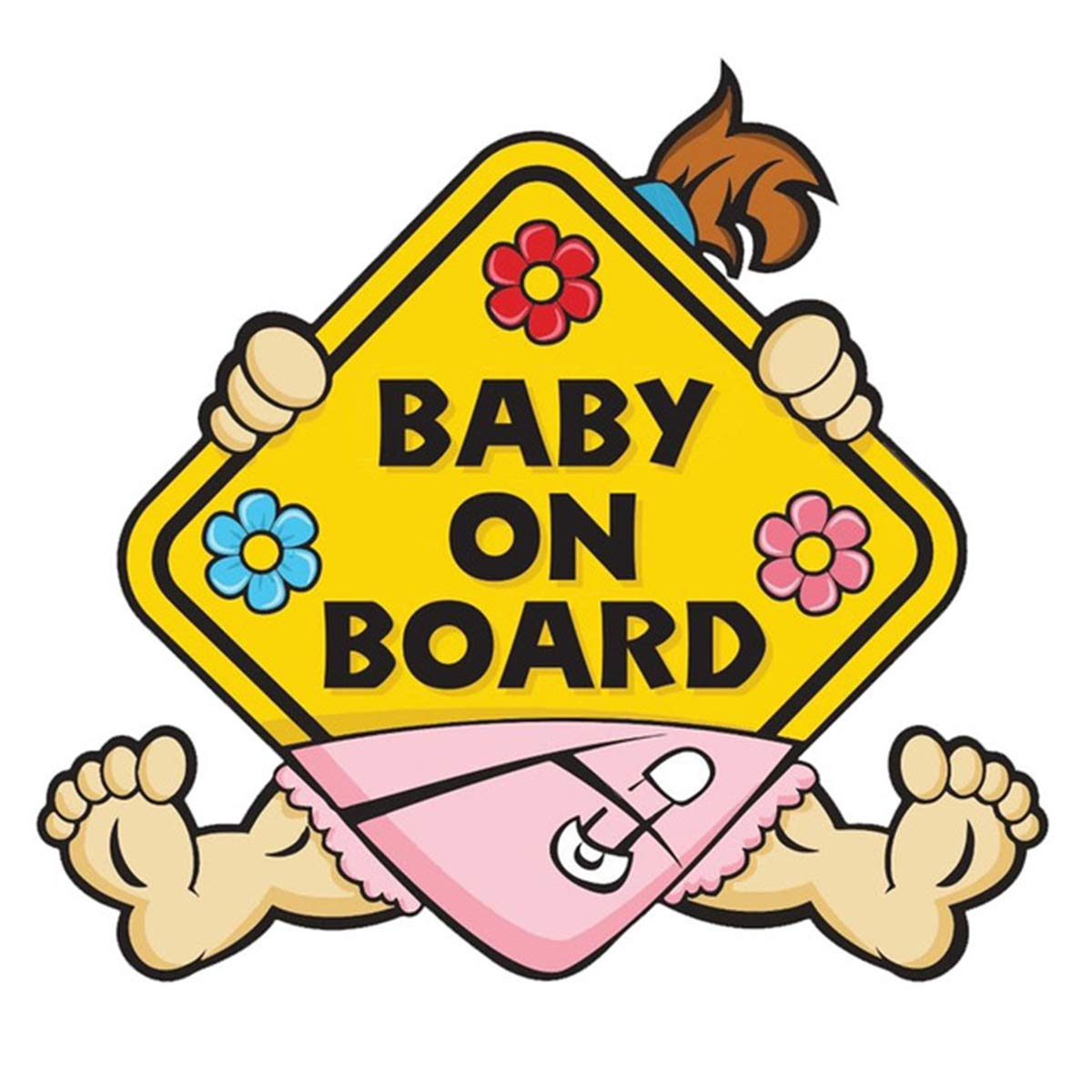 Durable Warning Sticker and Easy to Install Baby Legs Baby On Board Sticker Removable Waterproof Car Decals Safety Signs for Parents