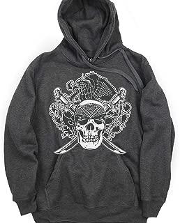 CaliDesign Charcoal Grey Chicano Hoodie Mexican Aztec Skull Low Rider Sweatshirt