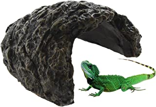 Emours Reptile Turtle Hideout Resin Climb Stone Aquarium Decor Tortoise Lizard Gecko Rock Cave Den,Small