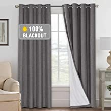 100% Blackout Curtains for Bedroom/Living Textured Linen Look Thermal Insulated Blockout Window Curtain Draperies with Whi...