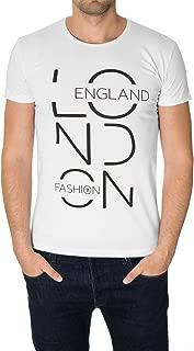 MODERNO Mens Graphic T-Shirt, Crew Neck, Short Sleeve, Slim Fit, Urban, London Print (MOD1007RN)