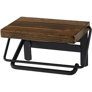 ぼん家具 トイレットペーパーホルダー 棚付き スチール 木製 シンプル おしゃれ 台 ダークブラウン