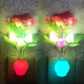 [2 Pack] UTLK Plug-in Flower LED Mushroom Night Light Lamp with Dusk to Dawn Sensor,Cute Plug in LED Bed Cute Mushroom Nightlight Night lamp Wall Light Baby Night Lights for Kids Children