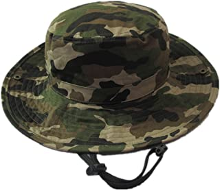 Baby Summer Camouflage Bucket Hats with Chin Straps Side Button