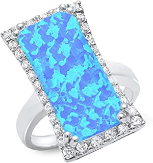 Cocktail Style Lab Created Blue Opal & Cubic Zirconia .925 Sterling Silver Ring Sizes 6-10