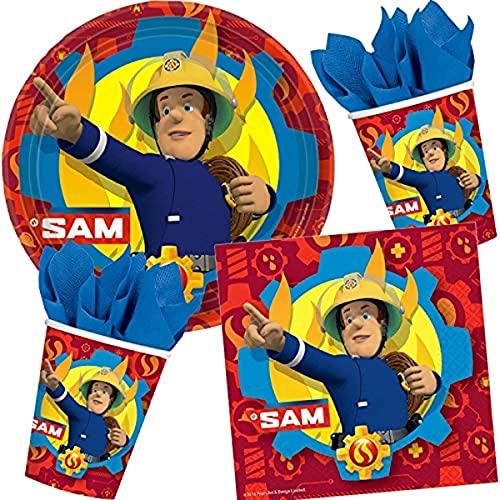 Lote de Cubiertos Infantiles'Bombero Sam' (32 Vasos, 32 Platos y 32 Servilletas) .Vajillas y Complementos. Juguetes y Regalos para Fiestas de Cumpleaños, Bodas, Bautizos, Comuniones.