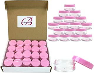 40 New empty 10 Gram (0.35 oz) Plastic Pot Jars – BPA FREE Clear Round Acrylic Container for Travel, Cosmetic, Makeup, Bead, Sample, Lip Balm, Candy, Herbs, Eye Shadow 10g/10ml (Pink Screw Lid)