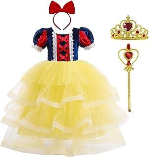 OBEEII Disfraz de Blancanieves Niña Vestidos Traje Costume de Carnaval 4 Piezas Diadema Corona y Varita de Hadas 3-8 Años