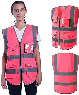 Pink Safety Vest Reflective for Women High Visibility Multi Pockets Vests