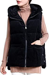 Womens Vest Stand Collar Sleeveless Zip Up Lightweight Hooded Cotton Gilet Outerwear, Warm Vest with Pockets (Color : Black, Size : XXXL)