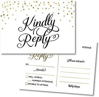 25 Elegant Gold Blank RSVP Cards, Response Postcard Kindly Reply for Weddings, Bridal Rehearsal Dinner, Baby Shower, Birthday, Engagement, Bachelorette Party Invitation Kits No Envelopes Needed