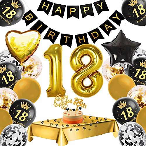 18. Geburtstag Dekoration,18 Geburtstag Deko Schwarzes Gold, Konfetti Luftballons Number Folienballon 18 AluminiumfolieBallon,Happy Birthday Banner,Geburtstagsdeko 18 Jahre für Jungen