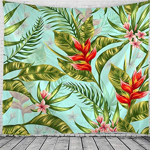JXWR Tapiz Floral de Planta Tropical Mandala Tapiz Colgante de Pared Bohemio Tapez Tapiz de brujería 150x130