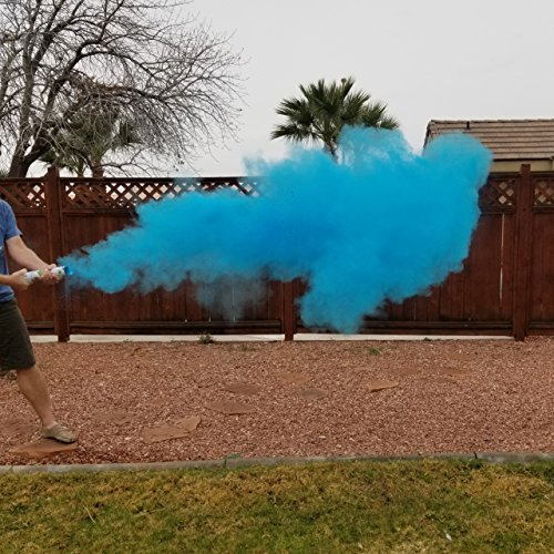 Adventure Awaits! - Baby Gender Reveal & for Other Festivals- Color Dispenser 12' x 6-Pack Hand Held Air Filled Party Popper, Also for Color Run Festival Product (Baby Blue)