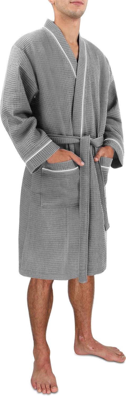 Morgenmantel für Herren aus Baumwolle mit Waffeloptik B07GFGRZG7