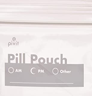 Pivit Clear Resealable Travel Pill Organizer Pouches Medicine Bags with White Write-on Label   100 Pack   3