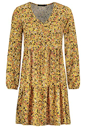 Sublevel Damen Kleid mit Blumen-Muster Langarm Herbst Frühling Yellow M/L