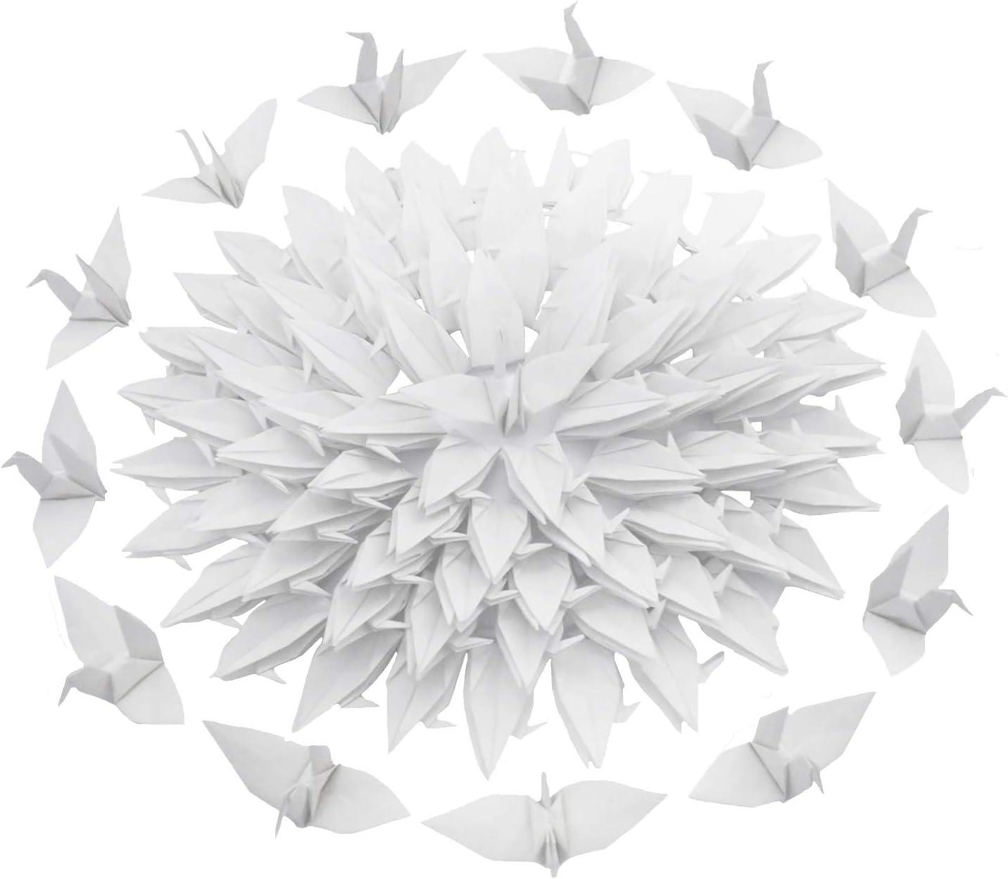 Kingsnow 100 PCS White Origami Hand-Made Long Ultra-Cheap Deals Beach Mall Folded Paper DIY Crane