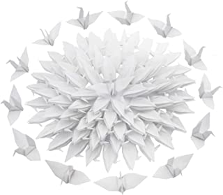 Kingsnow 100 PCS White Origami Paper Crane Folded Hand-Made DIY Crane for Wedding Party Baby Shower Background Decoration, Symbol of Love, Happiness, Good Luck