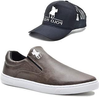 Tênis Slip On Casual Polo Masculino Solado Tr Confort + Boné