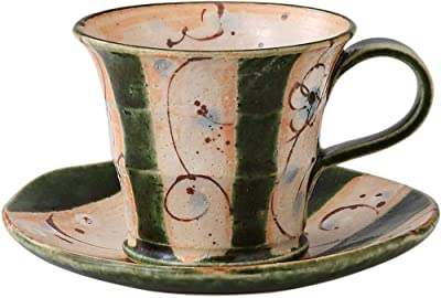 エールネット(Ale-net) まほろば織部 コーヒーカップ&ソーサー 美濃焼