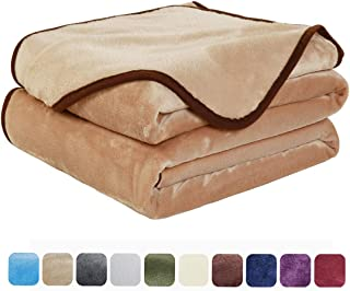 EASELAND Soft Queen Size Summer Blanket All Season Warm Fuzzy Microplush Lightweight Thermal Fleece Blankets for Couch Bed Sofa,90x90 Inches,Camel