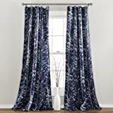 Lush Decor Forest Curtains - Tree Branch Leaf Darkening Window Panel Drapes Set for Living, Dining, Bedroom (Pair), 84' x 52', Navy