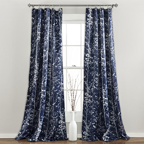 "Lush Decor Forest Curtains - Tree Branch Leaf Darkening Window Panel Drapes Set for Living, Dining, Bedroom (Pair), 84"" x 52"", Navy"