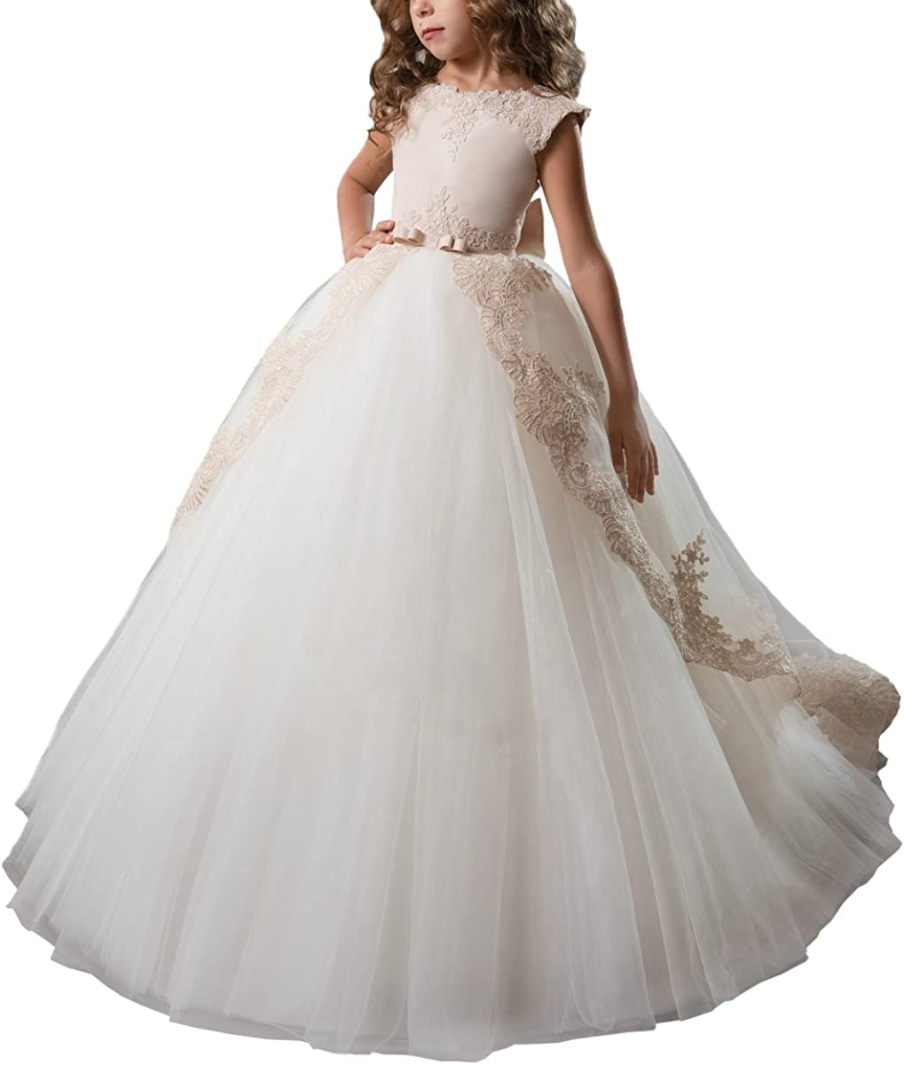 Tulsa Mall ABAO SISTER Fancy Flower Girl Many popular brands Dress Pageant Gown Ball Satin Lace
