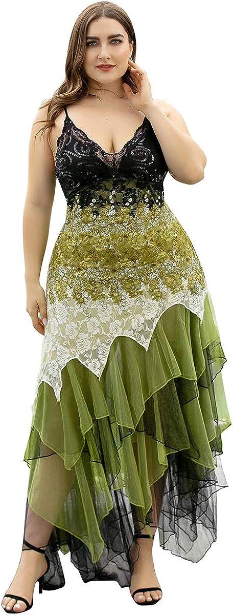 Ever-Pretty Womens Sleeveless Tea Length A-line Dress Lace Plus Size Cocktail Dress 6212B-PZ