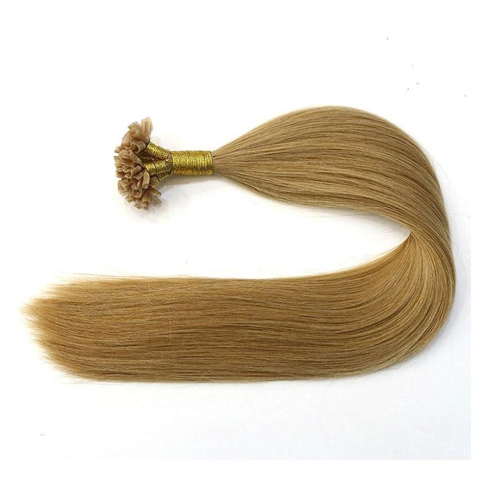 パネル望まない在庫JULYTER 100%本物の人間の髪の毛のナノリングヘアエクステンションブラウン100G /パックサテンストレートヘアエクステンションネイルチップヘア (色 : Photo color, サイズ : 18 inch)