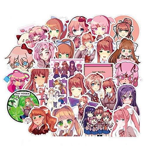 /Set Game Doki Doki Literature Club Stickers Monika Stickers for Laptop Phone Luggage Skateboard Kids Sticker Toys 50Pcs