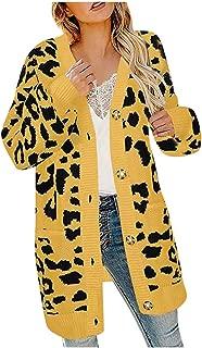 Fashion Women Knitted Leopard Print Cardigan T-Shirt Sweater CoatCoats Outerwear Coat Hoodies Sweater Long Sleeve
