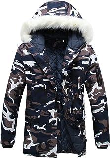 Runyue Men's Thicken Warm Hooded Outdoor Long Sleeve Faux Fur Warm Coats Winter Jackets Long Outerwear