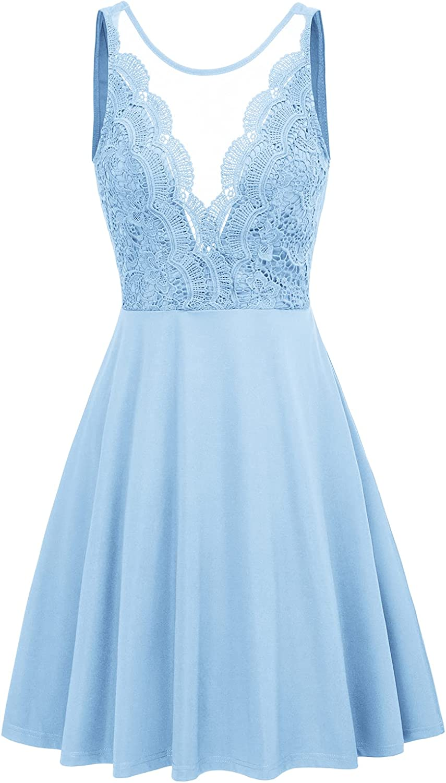 GRACE KARIN Women Sleeveless Lace Patchwork Deep V-Neck A Line Flared Party Dress