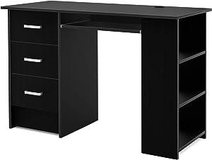 Homfa Bureau d'ordinateur Table PC Table de Travail avec Tablette à Clavier Trois Tiroirs et Trois Étages Bois 110x49x75cm (Noir)