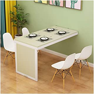 GFF Table Pliante en érable Blanc Table en Bois aggloméré Table de Salle à Manger Murale Cadre en métal Blanc Plancher de ...