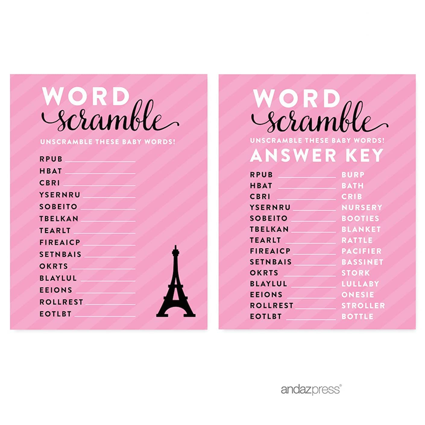 Andaz Press Paris Bonjour Bebe Girl Baby Shower Collection, Games, Activities, Decorations, Word Scramble Game Cards, 20-pack