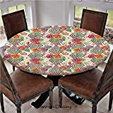 "Elastic Edged Polyester Fitted Table Cover,Diamond Shaped Rectangles Patterned Background with Hand Drawn Plant Arrangement Decorative,Fits up 45""-56"" Diameter Tables,The Ultimate Protection for Your"