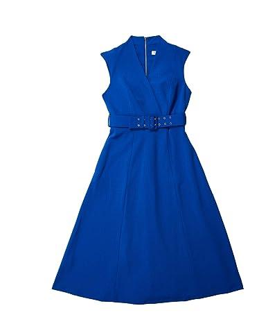 Calvin Klein Belted Surplus Neck A-Line Midi Dress (Regatta) Women