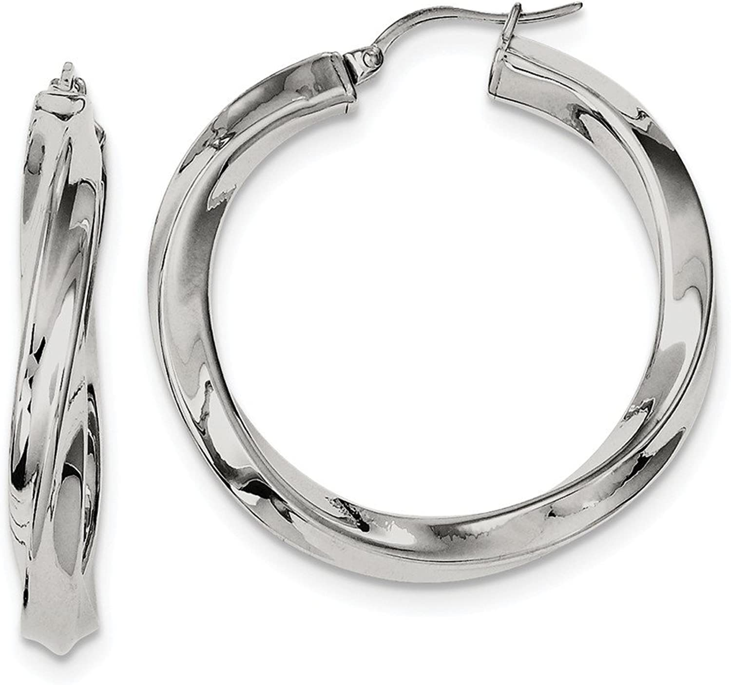 Beautiful Stainless Steel Twisted Polished Hollow Hoop Earrings