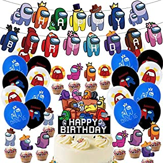 Among Us Party Decorations, Game Among Us Party Favors, Party Supplies Includes Happy Birthday Banner, Balloons, Cake Topp...