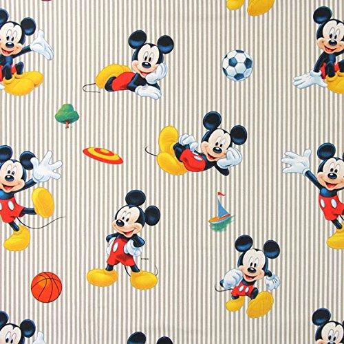 Fabulous Fabrics Disney Sport Mickey 1 beige — Meterware ab 0,5m — zum Nähen von Kissen, Tischdecken und Vorhänge