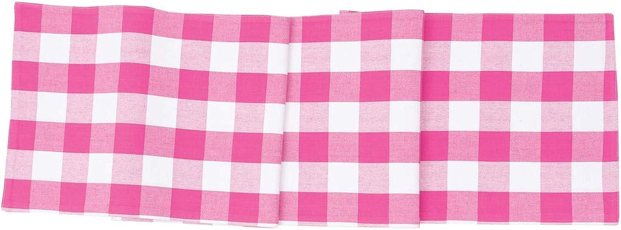 C F Home Franklin Buffalo Check Gingham Plaid Woven Fuchsia Light Pink And White Cotton Table Cotton Machine Washable Runner Table Runner Fuchsia