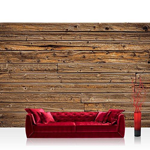 Fototapete 368x254 cm PREMIUM Wand Foto Tapete Wand Bild Papiertapete - Holz Tapete Holzwand Holzoptik Kacheln braun - no. 2646