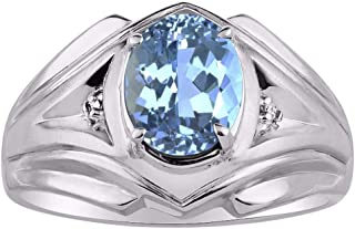 Mens Ring with Oval Shape Gemstone & Genuine Sparkling Diamonds in Sterling Silver .925-9X7MM Color Stone