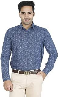 EL FIGO Men's Casual Full Sleeve Blue Floral Cotton Printed Slim FIT Shirt