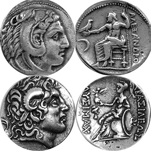 Golden Artifacts Alexander The Great, 2 Famous, Different Greek Coins of Alexander, Unique Gift, Greek Mythology (1+ 34-S)