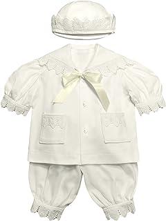 Victorian Organics Baby Boy Sailor Set 4 Piece Organic Cotton and Lace Jacket Hat Bodysuit and Pantaloons