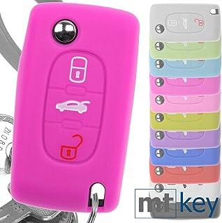 Soft Case Auto Schlüssel Silikon Schutz Hülle Pink kompatibel mit Peugeot 307 308 I 407 Expert RCZ Citroen C4 C5 III